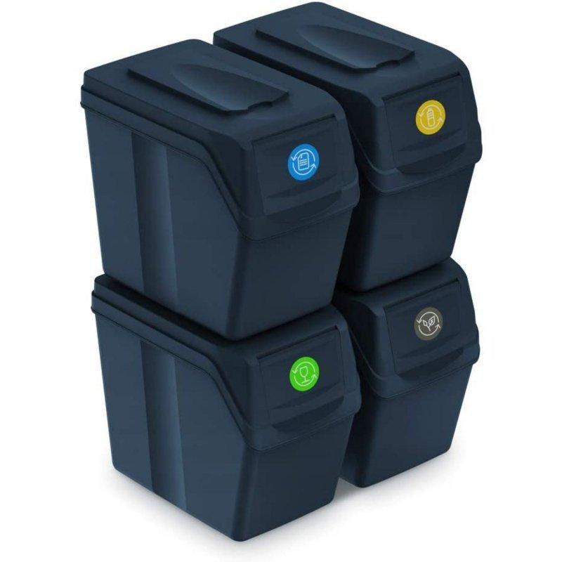 Zestaw koszy do segregacji Sortibox 4x20L antracyt ISWB20S4