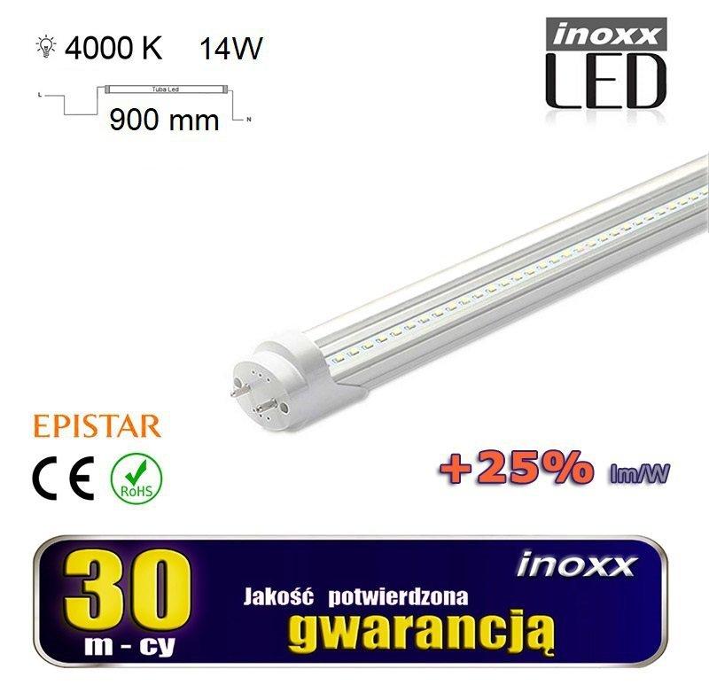 Świetlówka led 90cm 14w t8 4000k g13 neutralna przezroczysta