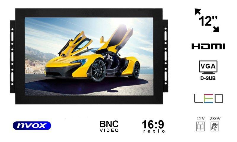 Monitor open frame LED 12cali z wejściem VGA HDMI BNC... (NVOX OP1211 VGA)
