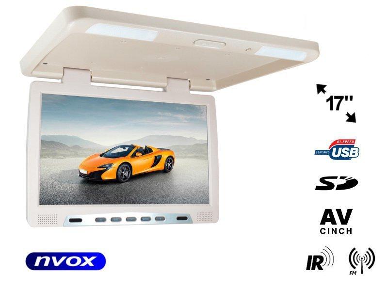 Monitor podwieszany podsufitowy LCD 17cali cali LED IR FM USB SD... (NVOX RF1790U BE)