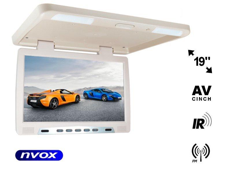 Monitor podwieszany podsufitowy LCD 19cali cali LED FM IR VGA... (NVOX RF1980 BE)