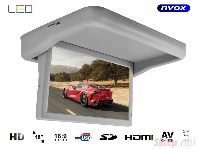 Monitor podwieszany podsufitowy automatycznie opuszczany LED HD 18cali HDMI USB SD Video-IN 24V.