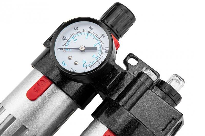 """Zestaw do uzdatniania powietrza, filtr, naolejacz i reduktor , 1/2"""", metalowa obudowa"""