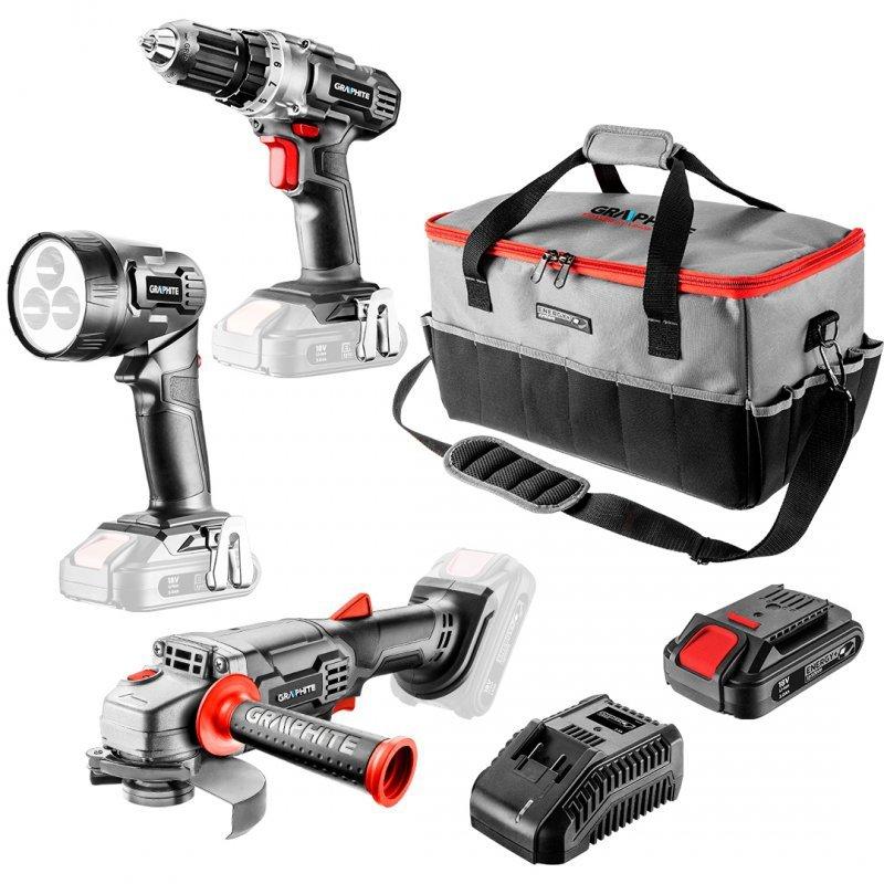 Zestaw: szlifierka kątowa akumulatorowa, wiertarko-wkrętarka akumulatorowa, latarka, torba, akumulator Energy+ 18V, Li-Ion