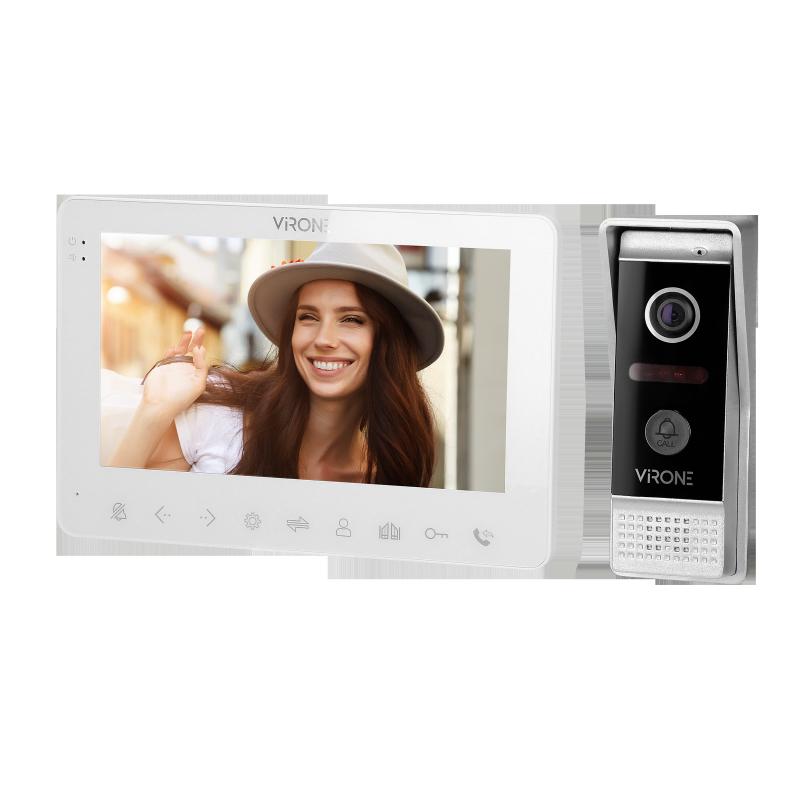 """Zestaw wideo domofonowy, bezsłuchawkowy, kolor, LCD 7"""", menu OSD, WI-FI + APP na telefon, sterowanie bramą, biały, VIFAR"""