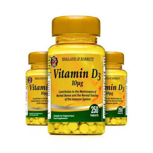Zestaw Witamin 2+1 (Gratis) Witamina D3 10 ug 250 Tabletek