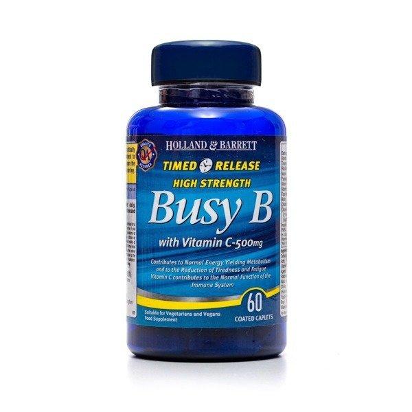 Witamina B Complex z Witaminą C 500 mg o przedłużonym uwalnianiu 60 Kapletek