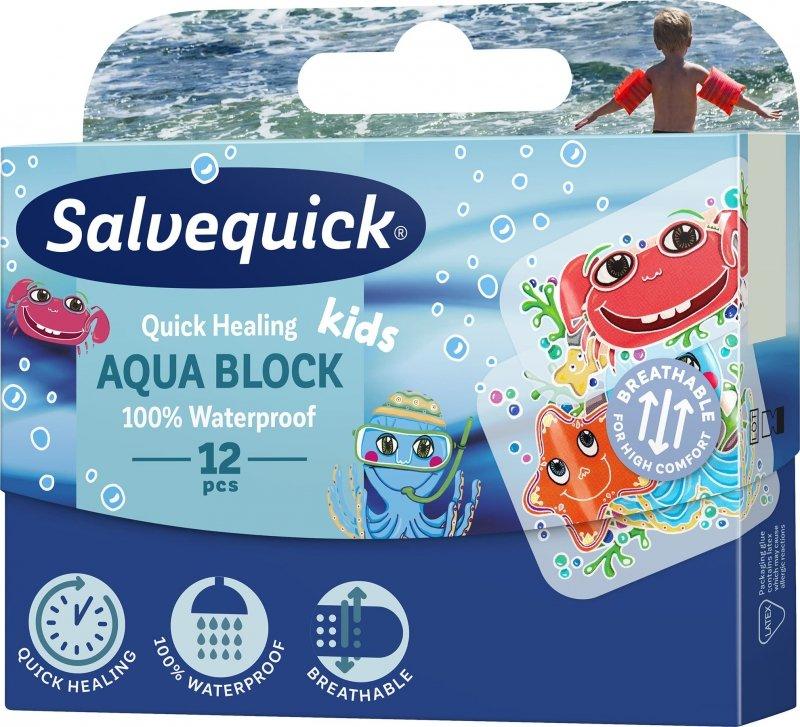 Salvequick Aqua Block Kids Plaster przyspieszający gojenie 12 szt