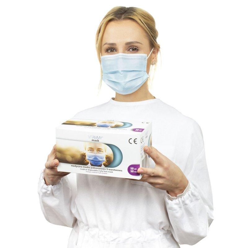 VITAMMY mask G 50 szt, MADE IN POLAND Medyczna maska jednorazowa 3-warstwowa na gumki, zabiegowa TYP II EN14683