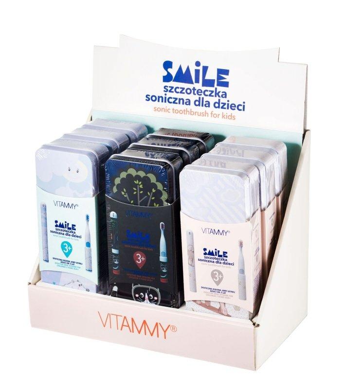VITAMMY Smile/ display 9 szt (miś polarny, czarny kot, pies) Szczoteczka soniczna dla dzieci z zębami mlecznymi 3 +