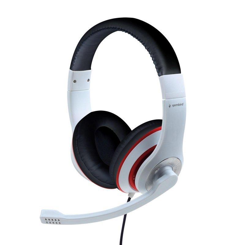 Słuchawki nauszne stereo z mikrofonem na wysięgniku Gembird MHS-03-WTRDBK (biało-czarne)