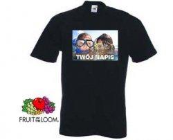 Czarna koszulka t-shirt z nadrukiem a4