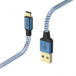 Kabel ładujący/data Reflected - odblaskowy usb type-c - usb-a , 1.5m, niebieski