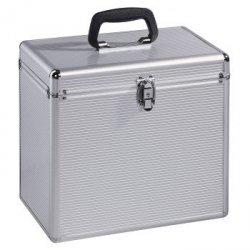 Kufer na 50 płyt winylowych, srebrny