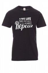 Koszulka z nadrukiem czarna - live life take picture relive memories repeat