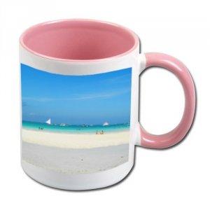 Biały foto kubek z różowym środkiem i uchem + twoje zdjęcie