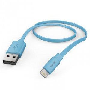 Kabel do ładowania i synchronizacji Flat Lightning 1.2 m niebieski - Hama
