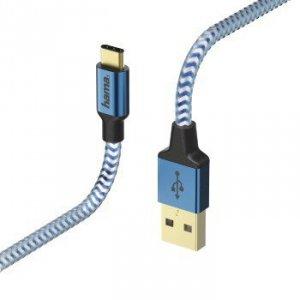 Kabel ładujący/data Reflected - odblaskowy USB Typ-C - USB-A 1.5m niebieski - Hama