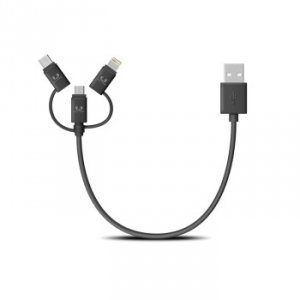 Kabel usb combo fabriq cable (usb-c + apple lightning + micro usb)   0.2m