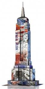 Ravensburger, Empire State Building -Flaga, Puzzle 3D 216 elementów + gratis