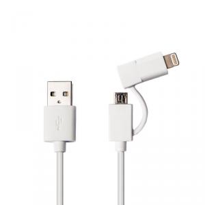 AZURI 2w1 Kabel micro USB-lightning 1m biały