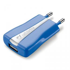 CELLULAR LINE Ładowarka sieciowa 110/240V USB 1A niebieska