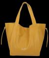 Vittoria Gotti Włoska Torebka Skórzana Shopper Bag z Kosmetyczką Musztarda