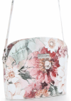 Vittoria Gotti Włoska Listonoszka Skórzana w modny wzór Kwiatów Biała