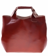 Torebka skórzana Shopperbag z kosmetyczką Brąz