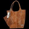 Uniwersalna Torebka Skórzana XL Shopper Bag w motyw zwierzęcy firmy Vittoria Gotti Ruda