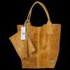 Uniwersalna Torebka Skórzana XL Shopper Bag w motyw zwierzęcy firmy Vittoria Gotti Musztarda