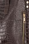 Vittoria Gotti Klasyczne Torebki Skórzane XL we wzór Aligatora Czekolada