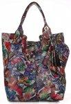 Skórzany Shopper Bag VITTORIA GOTTI Made in Italy w Motyle Multikolor - Czarna