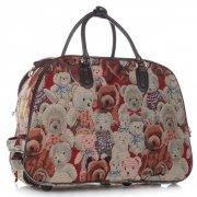 Cestovní taška na kolečkách s výsuvnou teleskopickou rukojetí Or&Mi Teddy Bear Multicolor - béžová