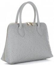 Elegantní kožená kabelka kufřík Světle Šedá