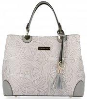 Elegantní kožený kufřík Vittoria Gotti Světle šedý