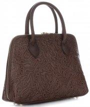 Elegantní kožená kabelka kufřík čokoládová
