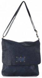 Kožená kabelka listonoška Vintage Genuine Leather Tmavě modrá