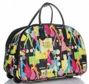 Cestovní taška na kolečkách s výsuvnou teleskopickou rukojetí Or&Mi Woman Multicolor - černá