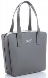 Originální a módní kožená italská kabelka Vittoria Gotti šedá/čokoládová