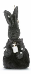 Přívěšek ke kabelce Brokátový králík s pomponem černý