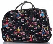 Cestovní taška na kolečkách s výsuvnou teleskopickou rukojetí Or&Mi English Girl Multicolor - černá