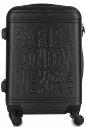 Módní Palubní kufřík Or&Mi Paris/London/NewYork 4 kolečka Černá
