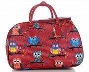 Průměrná cestovní taška kufřík Or&Mi vzor v sovy Multicolor - Červená
