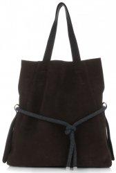 Univerzální kožená italská kabelka Vittoria Gotti Made in Italy Shopperbag  XL s kosmetickou čokoláda 9adb0bd5865