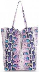 Vittoria Gotti Kožené Kabelky Shopperbag XL hadí vzor Světle Fialová