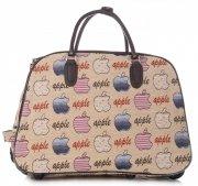 Cestovní taška na kolečkách s výsuvnou teleskopickou rukojetí Or&Mi Apple Multicolor - béžová
