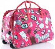 Cestovní taška na kolečkách s výsuvnou rukojetí v motýlech Or&Mi multicolor červená
