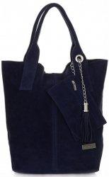 Kožené kabelky Vittoria Gotti Shopper bag Tmavě modrá