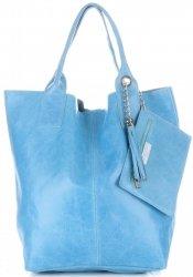 Kožená kabelka Shopper bag Lak světle modrá